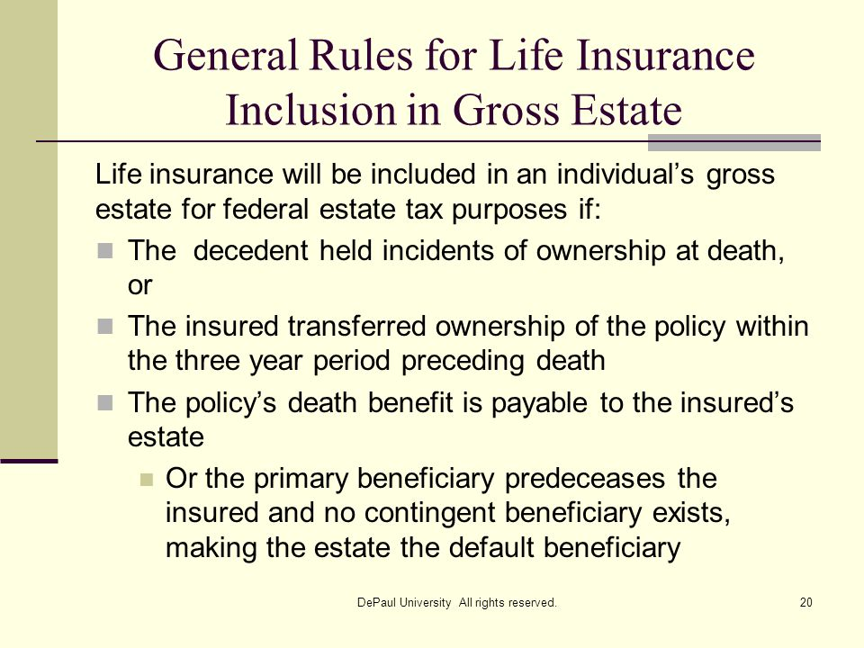 General Rules for Life Insurance Inclusion in Gross Estate
