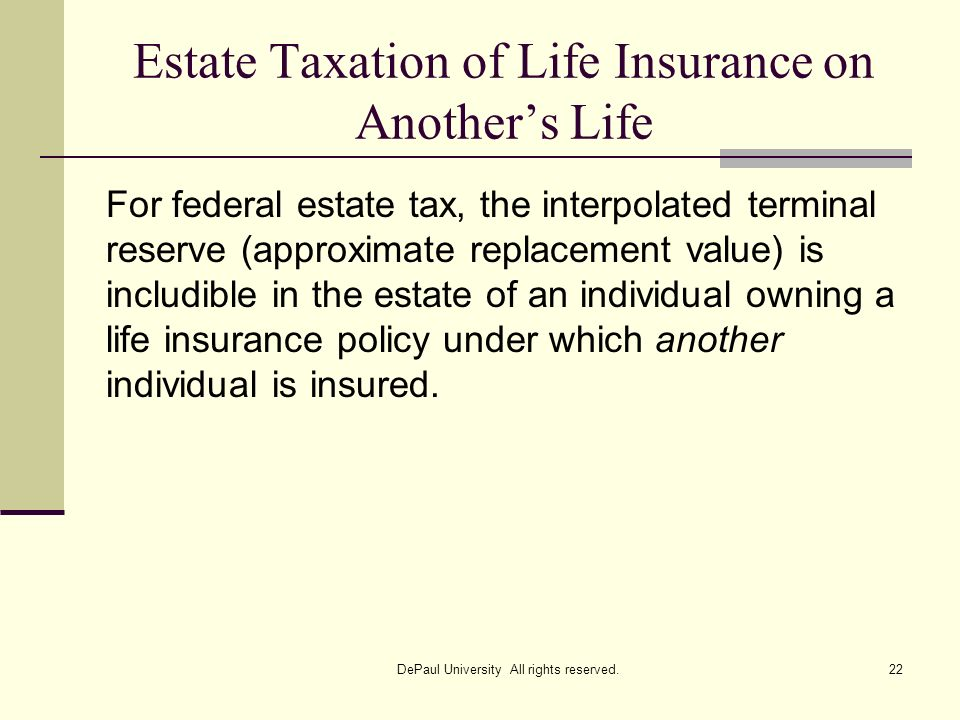 Estate Taxation of Life Insurance on Another's Life
