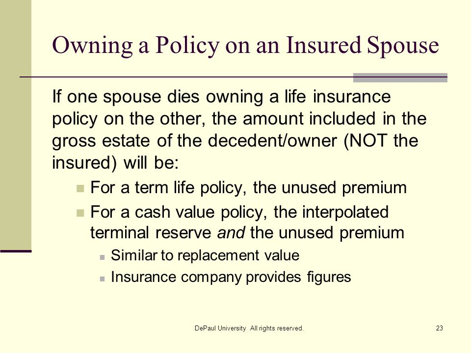 Owning a Policy on an Insured Spouse