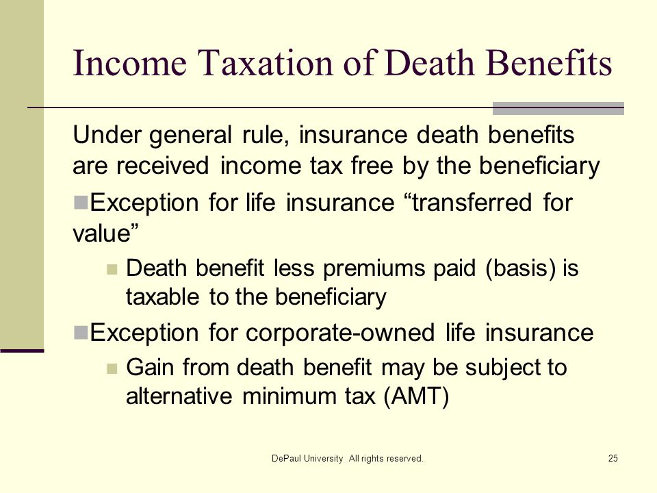 Income Taxation of Death Benefits