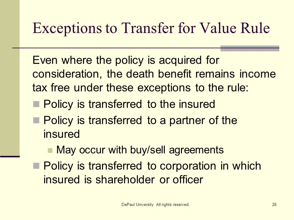 Exceptions to Transfer for Value Rule