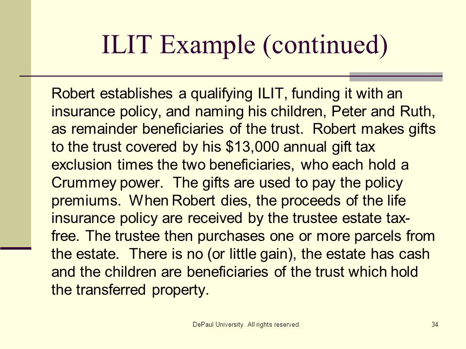 ILIT Example (continued)