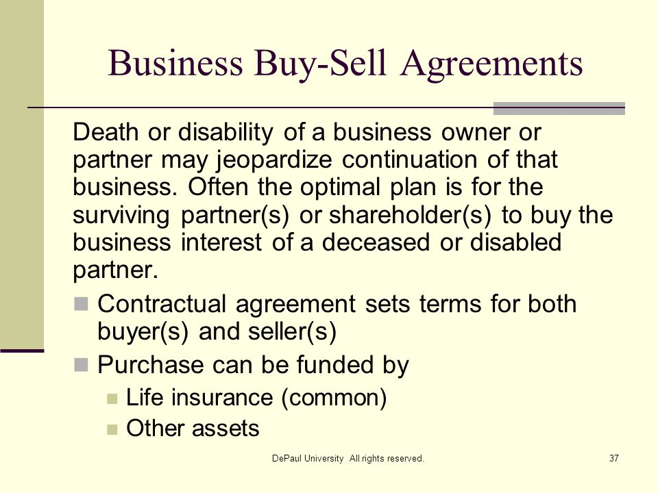 Business Buy-Sell Agreements