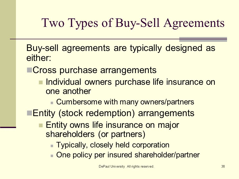Two Types of Buy-Sell Agreements