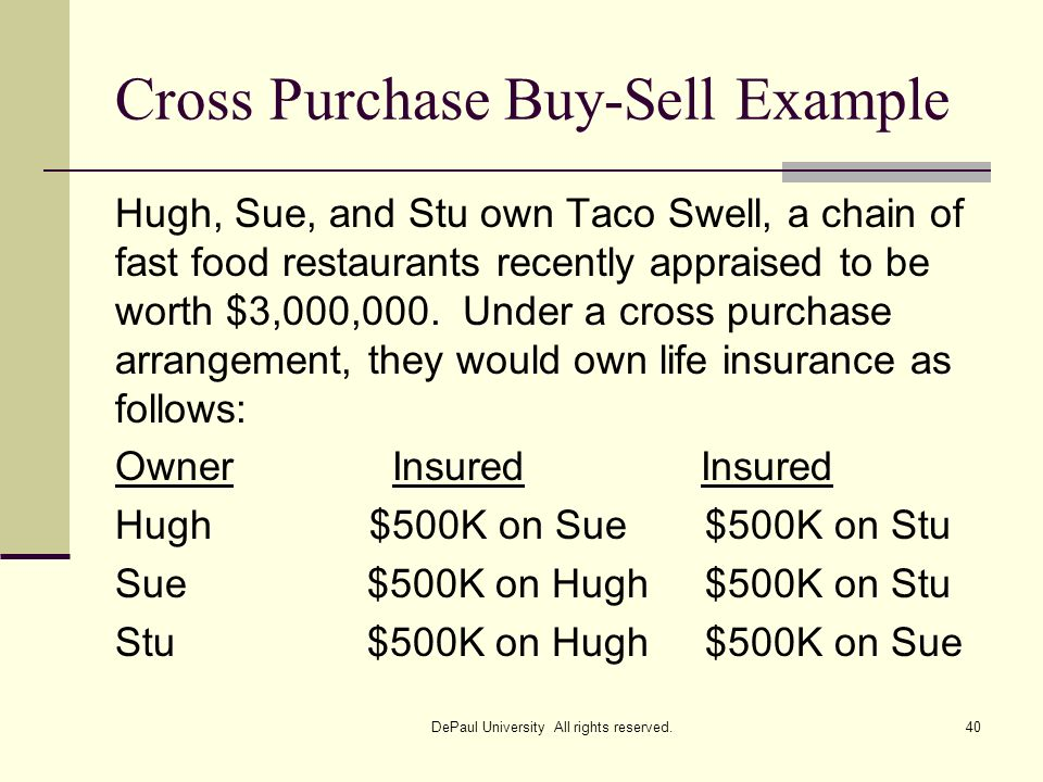 Cross Purchase Buy-Sell Example