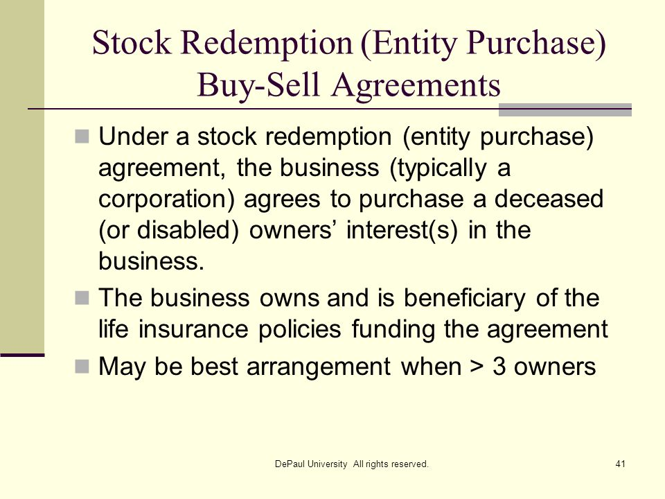 Stock Redemption (Entity Purchase) Buy-Sell Agreements