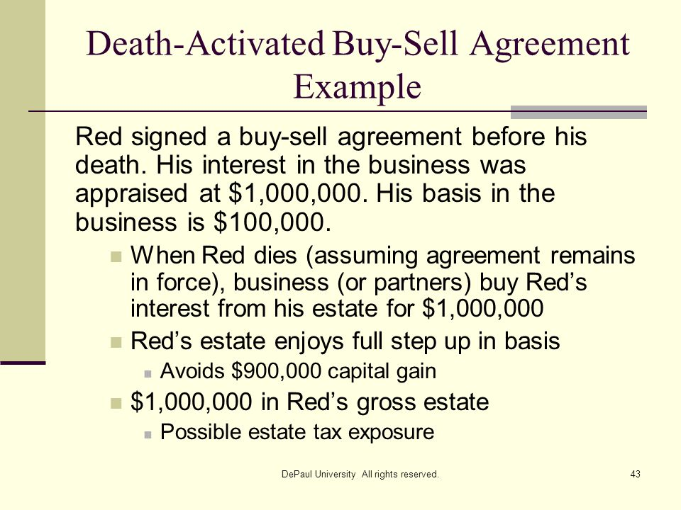 Death-Activated Buy-Sell Agreement Example