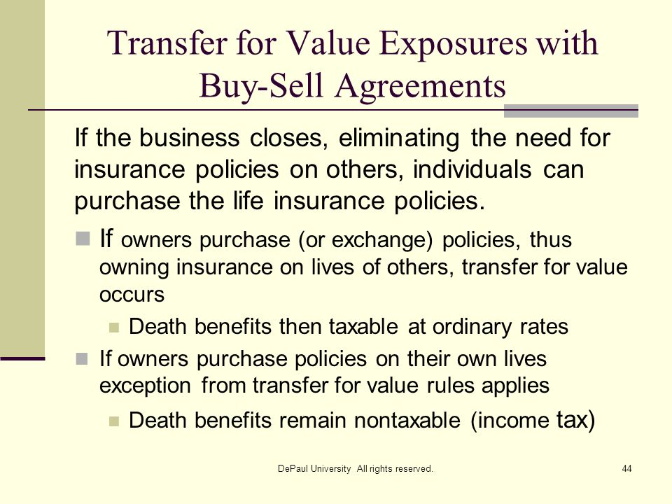 Transfer for Value Exposures with Buy-Sell Agreements