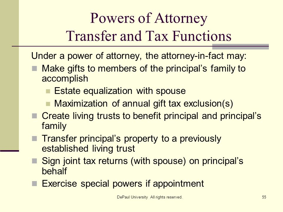 Powers of Attorney Transfer and Tax Functions
