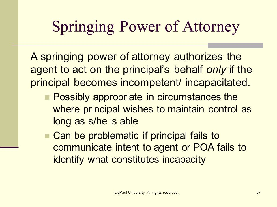 Springing Power of Attorney