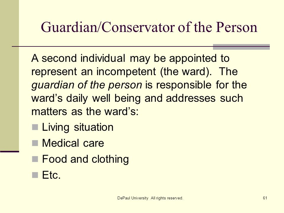 Guardian/Conservator of the Person