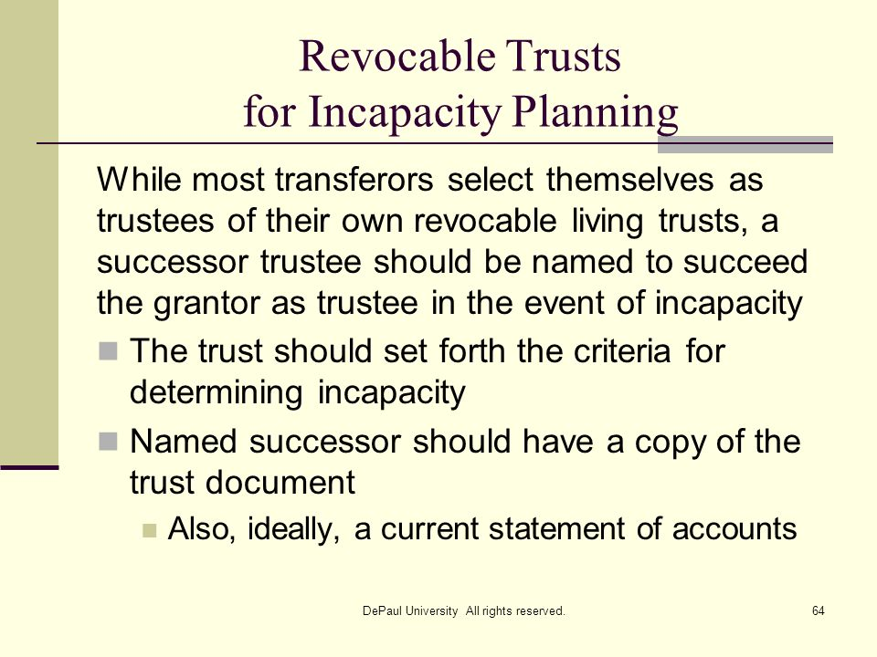 Revocable Trusts for Incapacity Planning