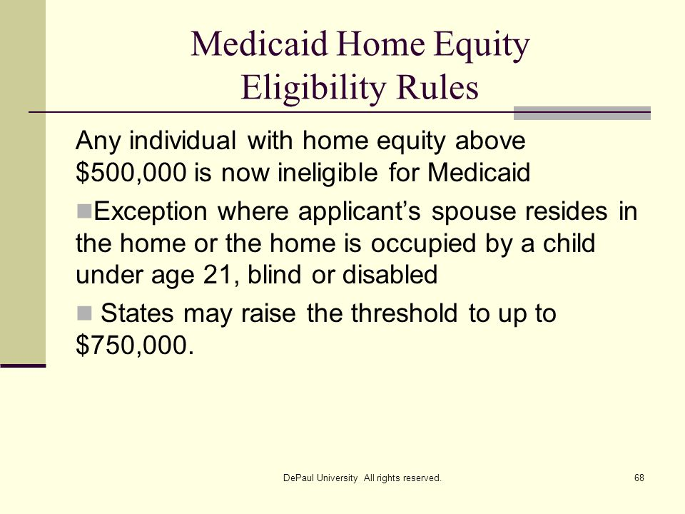 Medicaid Home Equity Eligibility Rules
