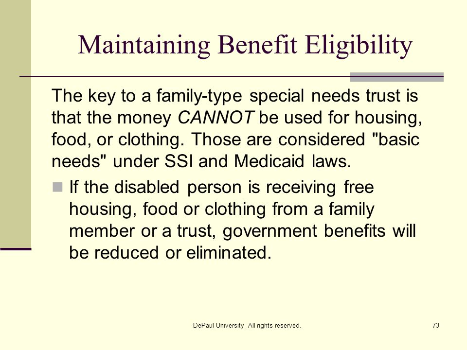 Maintaining Benefit Eligibility