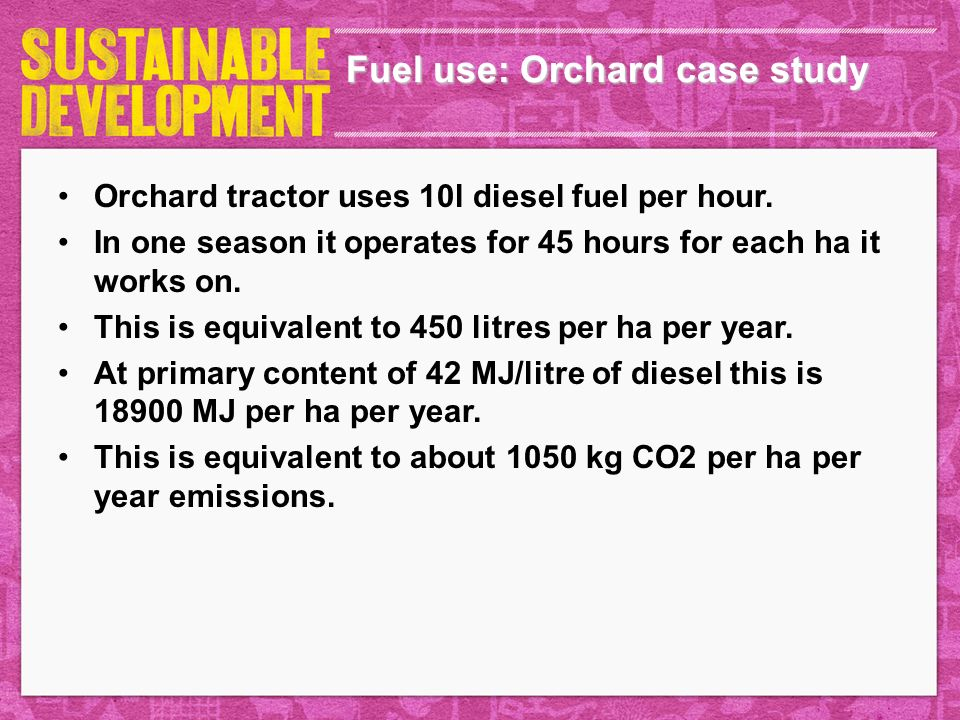 Fuel use: Orchard case study