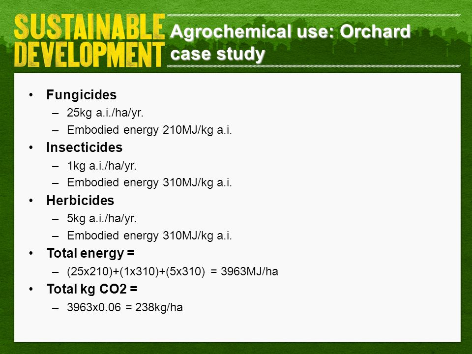 Agrochemical use: Orchard case study