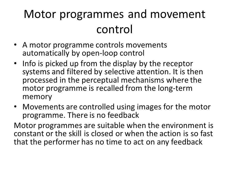 Motor programmes and movement control