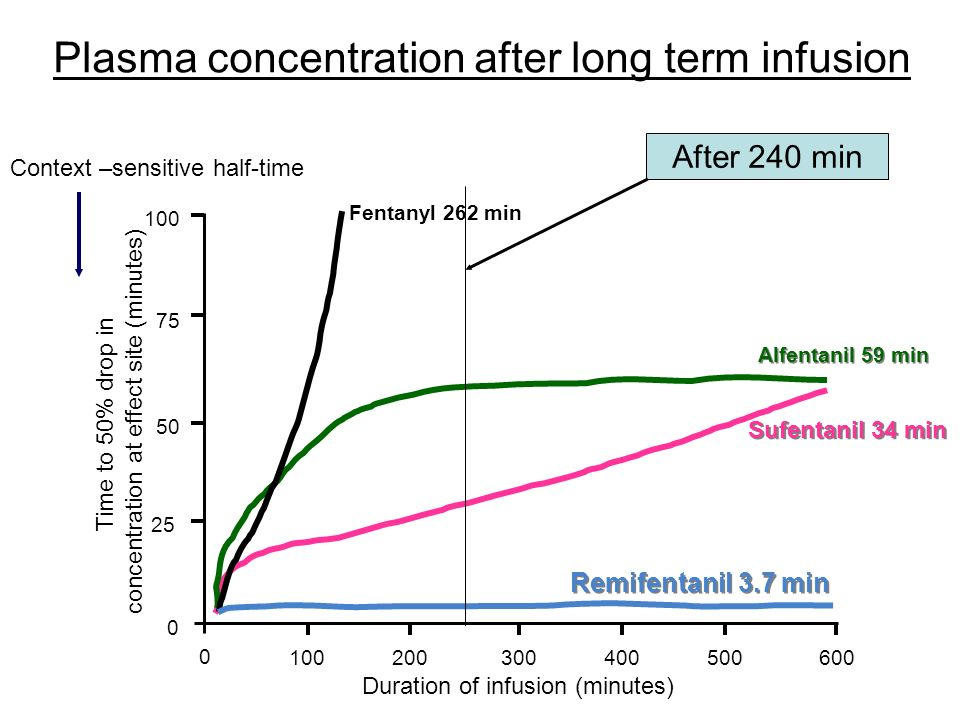 Plasma concentration after long term infusion