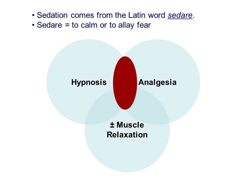 Sedation comes from the Latin word sedare.