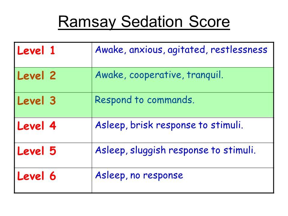 Ramsay Sedation Score Level 1 Level 2 Level 3 Level 4 Level 5 Level 6