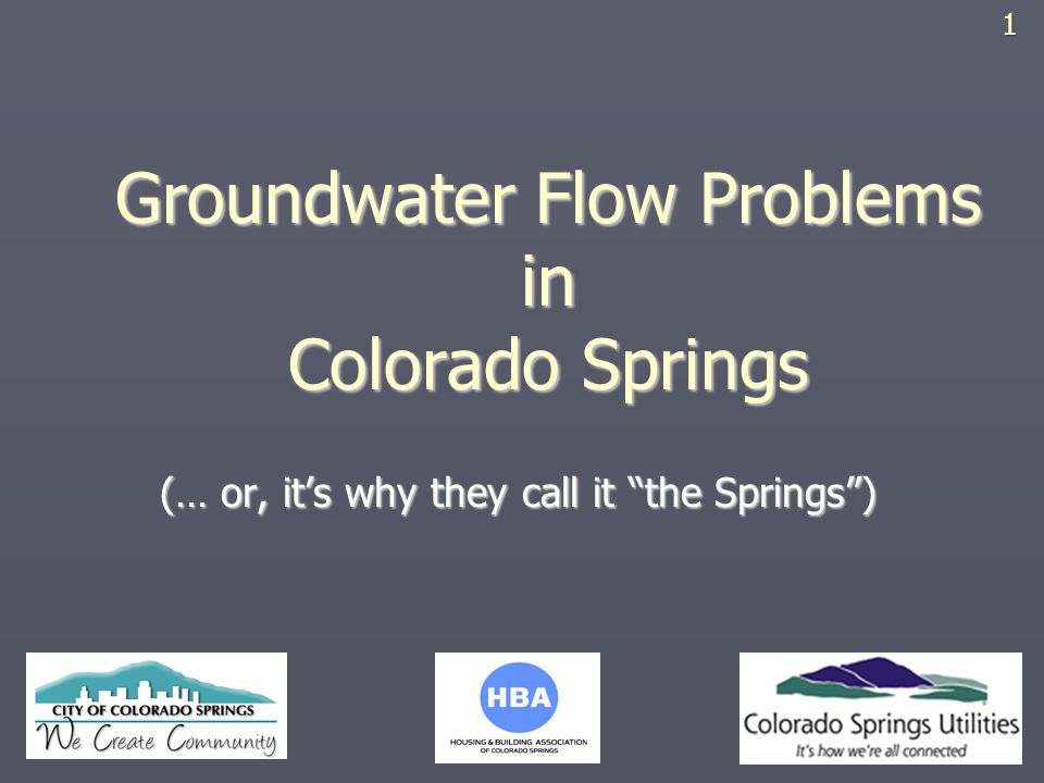 Groundwater Flow Problems in Colorado Springs