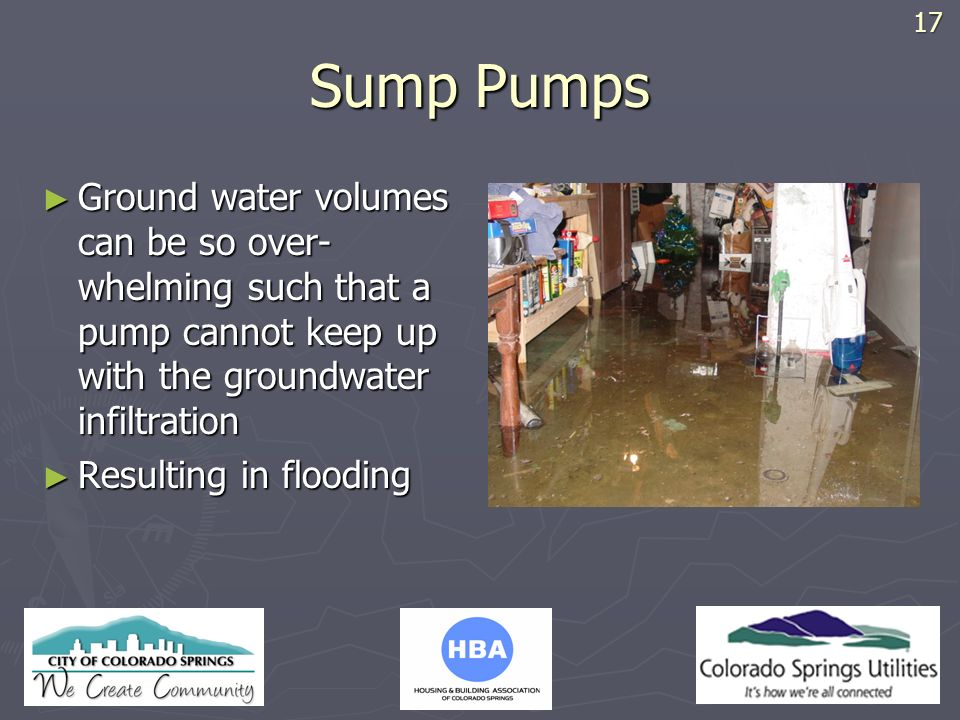 17 Sump Pumps. Ground water volumes can be so over-whelming such that a pump cannot keep up with the groundwater infiltration.