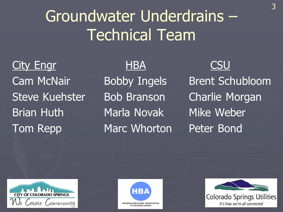 Groundwater Underdrains – Technical Team