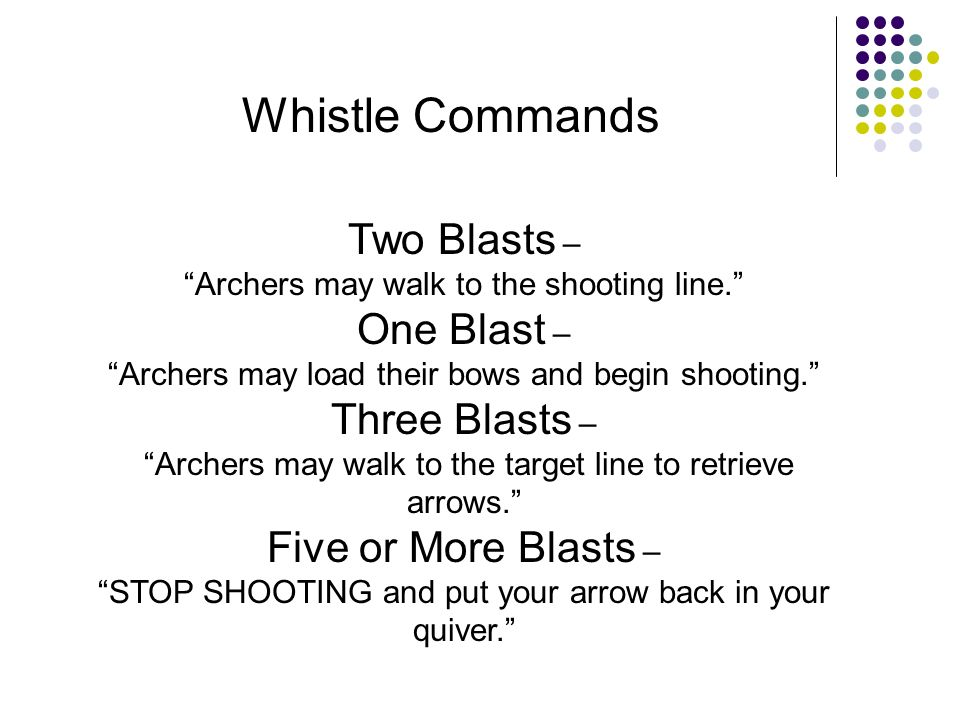 Whistle Commands Two Blasts – One Blast – Three Blasts –