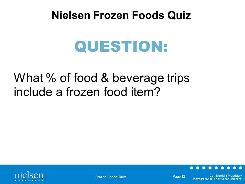 What % of food & beverage trips include a frozen food item
