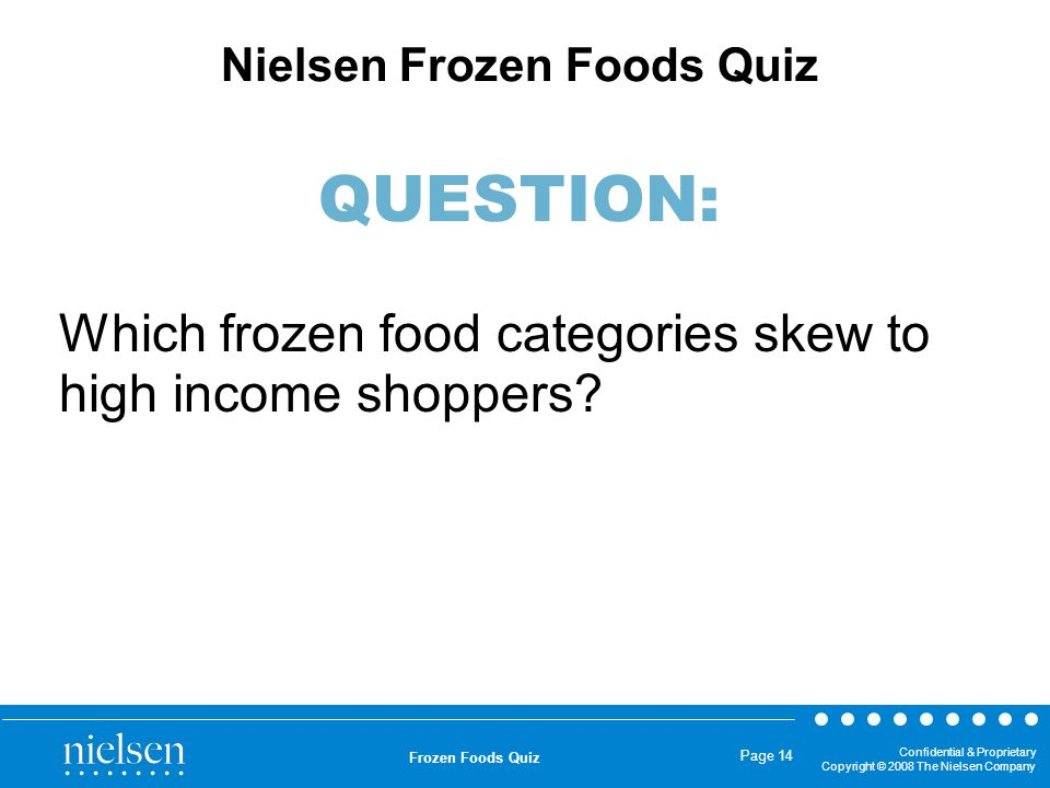 Which frozen food categories skew to high income shoppers