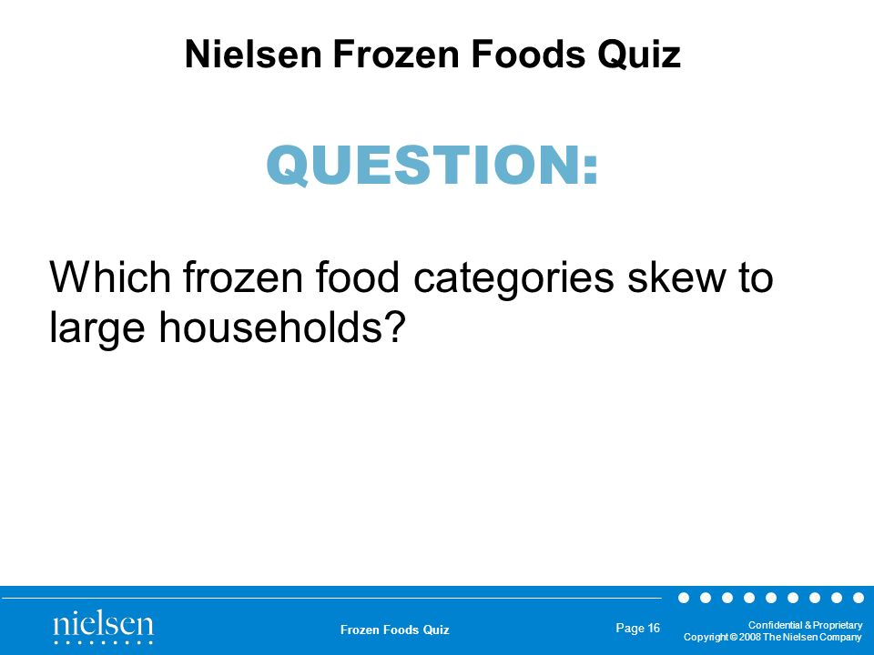 Which frozen food categories skew to large households