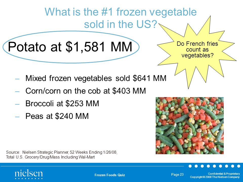 What is the #1 frozen vegetable sold in the US