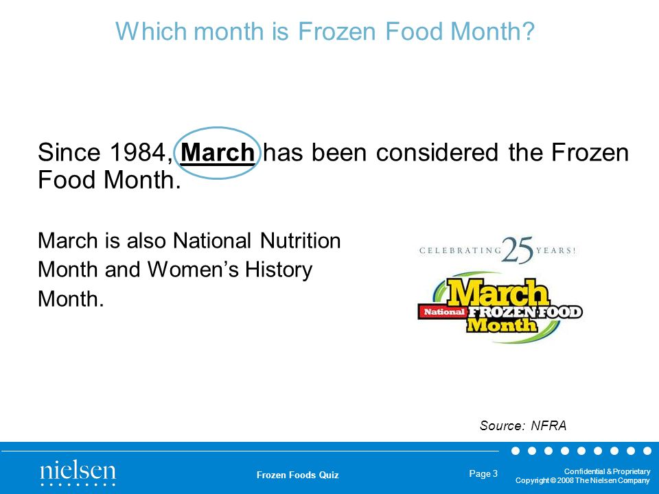 Which month is Frozen Food Month