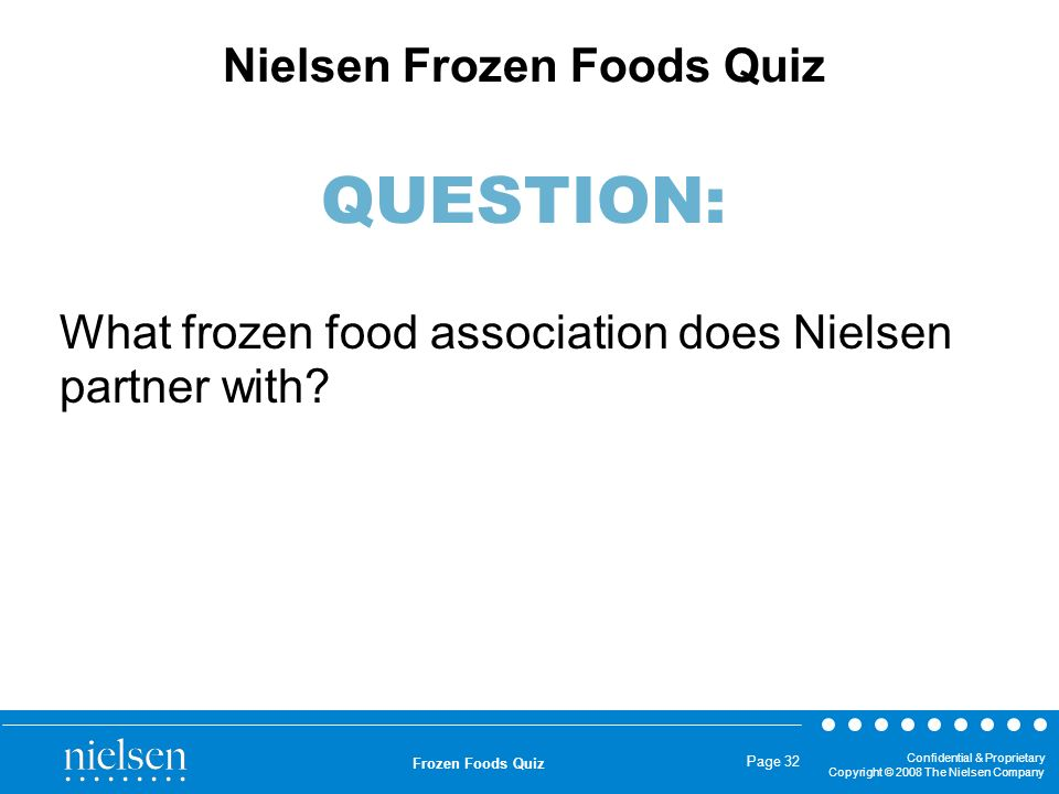 What frozen food association does Nielsen partner with