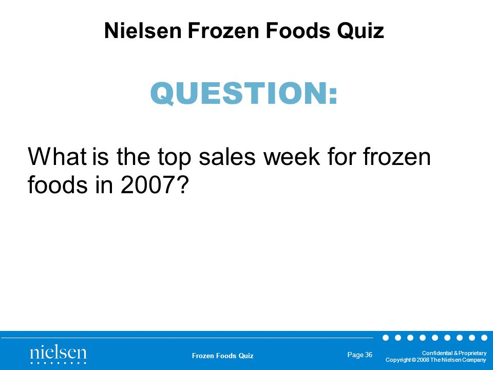 What is the top sales week for frozen foods in 2007