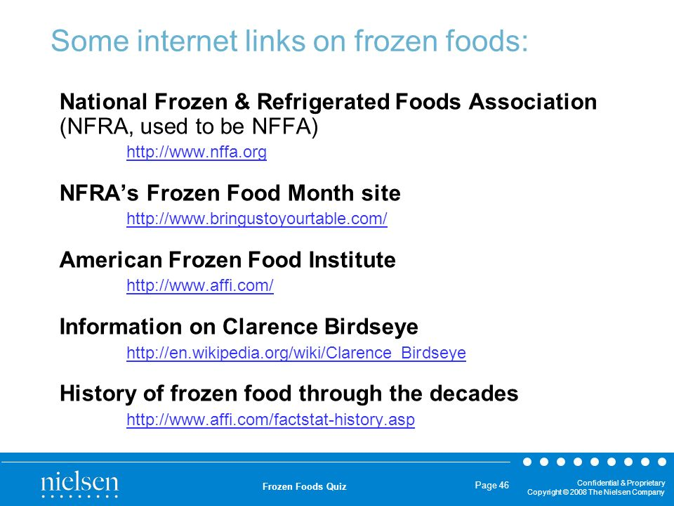 Some internet links on frozen foods: