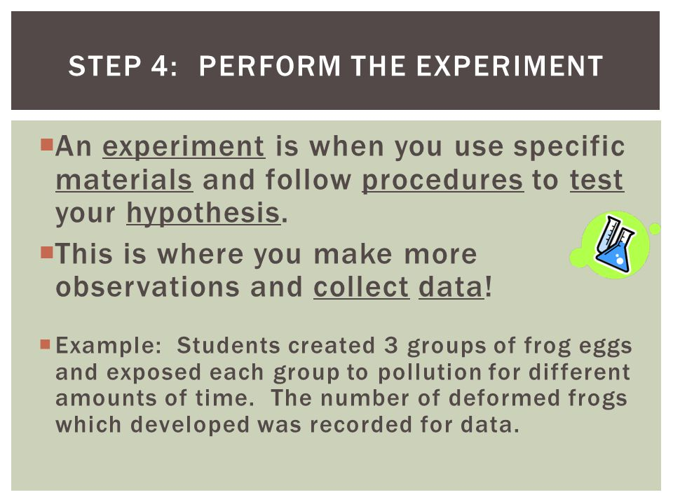 Step 4: Perform the Experiment