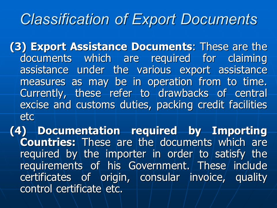 Classification of Export Documents