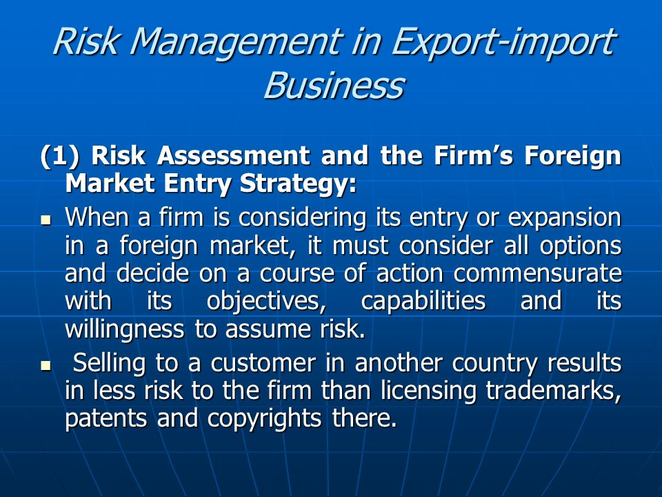 Risk Management in Export-import Business