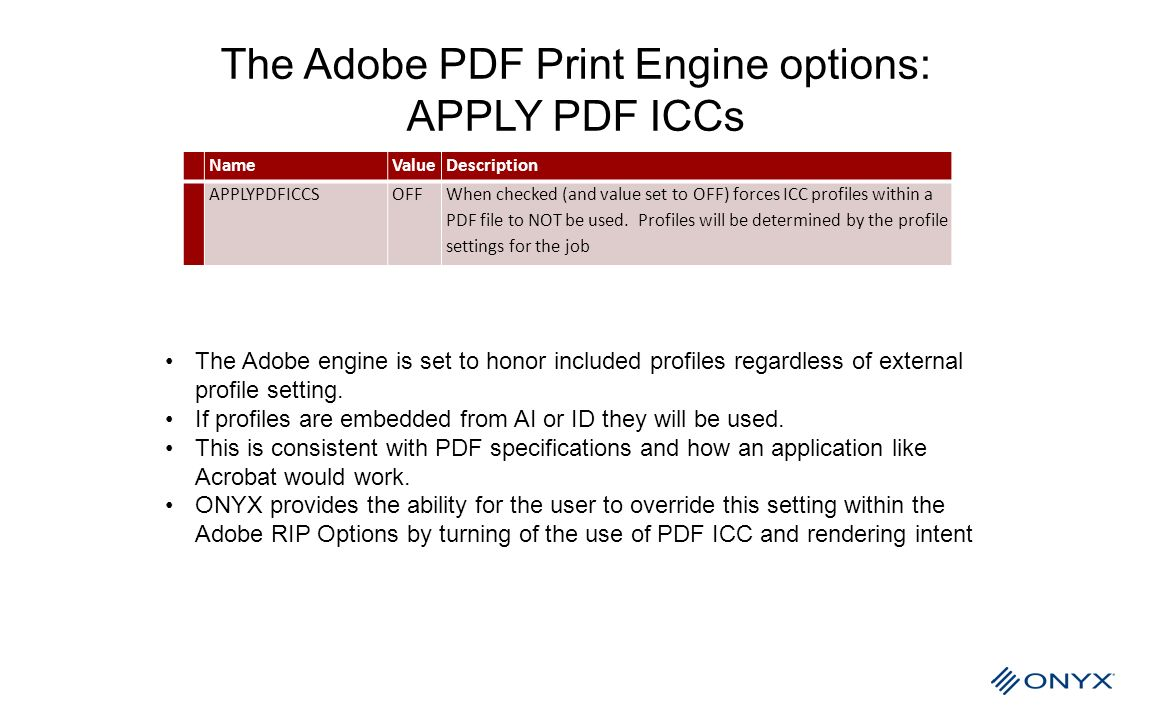 The Adobe PDF Print Engine options: APPLY PDF ICCs