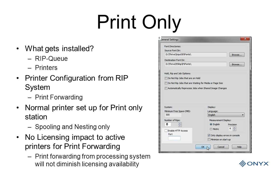 Print Only What gets installed Printer Configuration from RIP System
