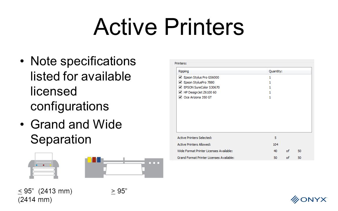 Active Printers Note specifications listed for available licensed configurations. Grand and Wide Separation.