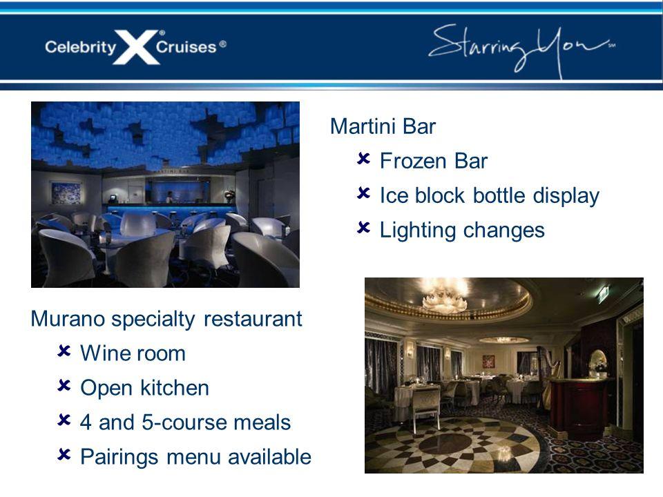 Martini BarFrozen Bar. Ice block bottle display. Lighting changes. Murano specialty restaurant. Wine room.