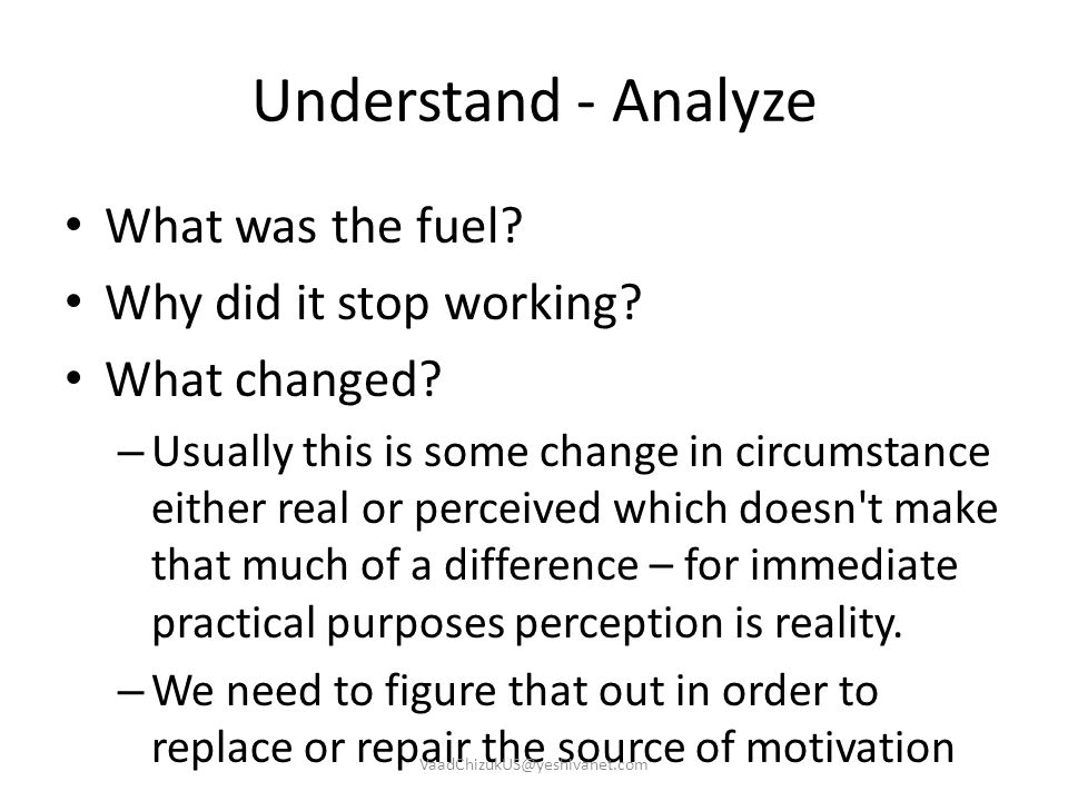 Understand - Analyze What was the fuel Why did it stop working