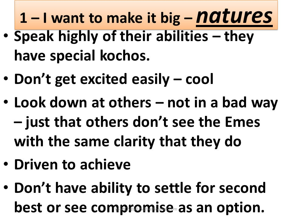 1 – I want to make it big – natures