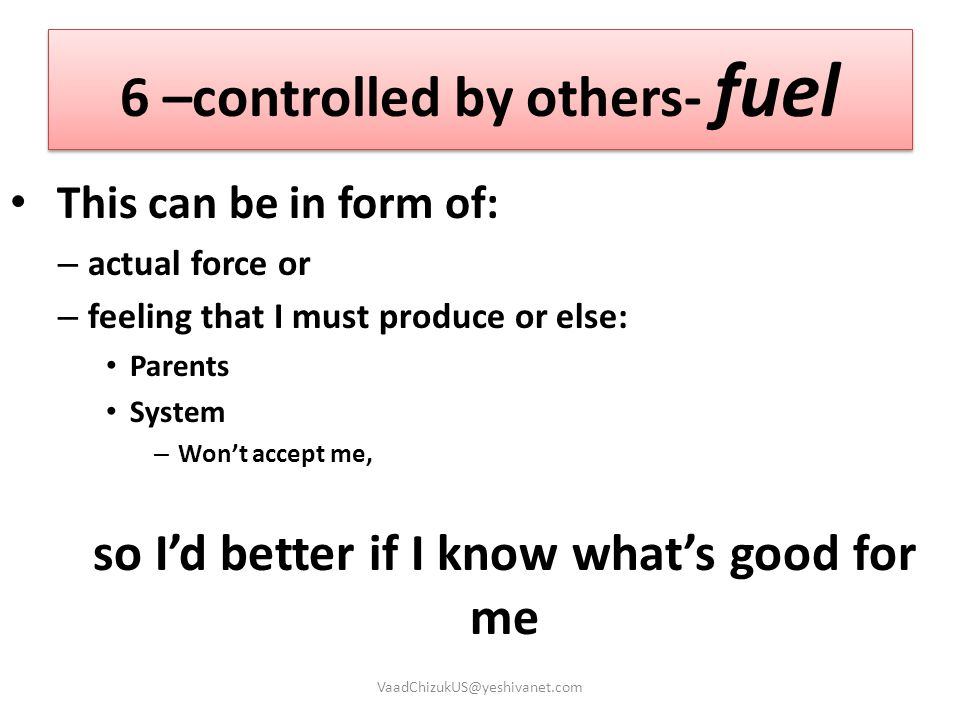 6 –controlled by others- fuel