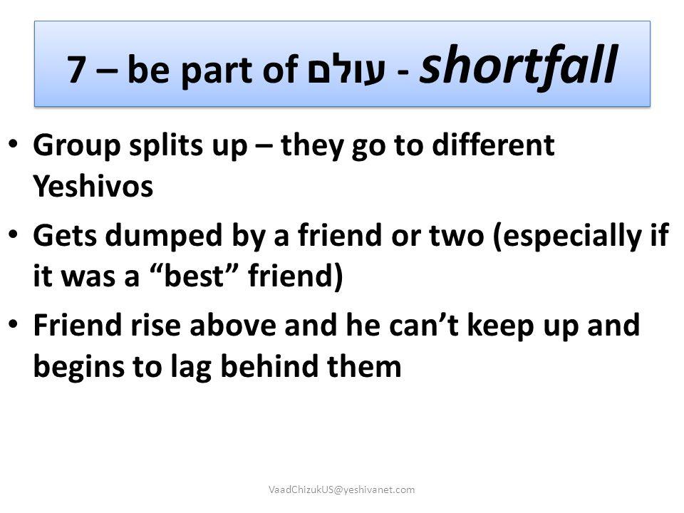 7 – be part of עולם - shortfall