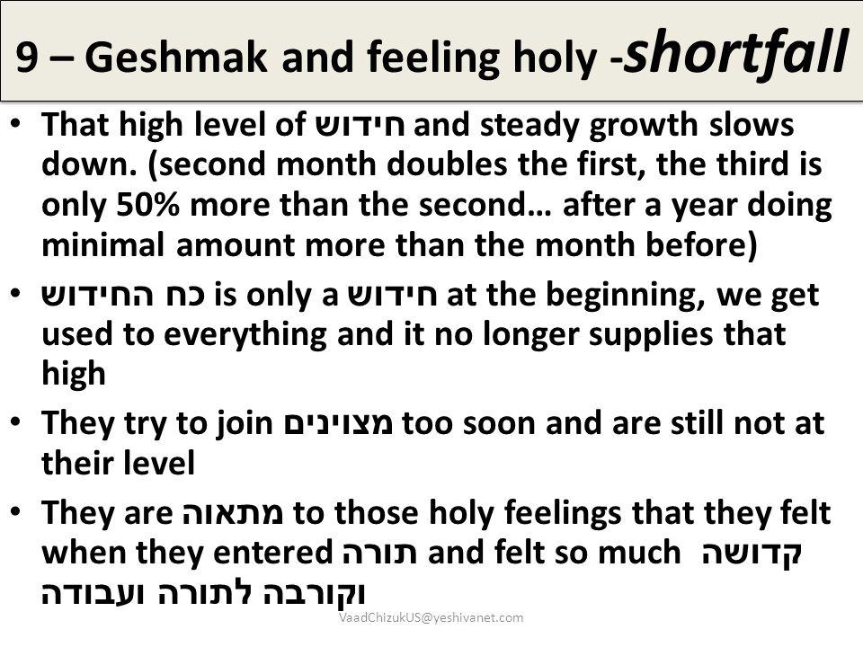 9 – Geshmak and feeling holy -shortfall
