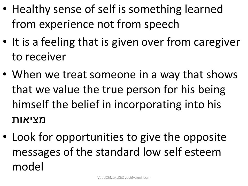 It is a feeling that is given over from caregiver to receiver