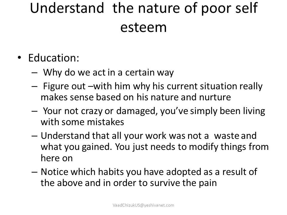 Understand the nature of poor self esteem